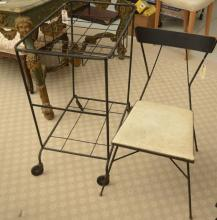 Fredrick Weinberg style iron cart and chair