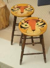Pair Vintage paint decorated tiger stools