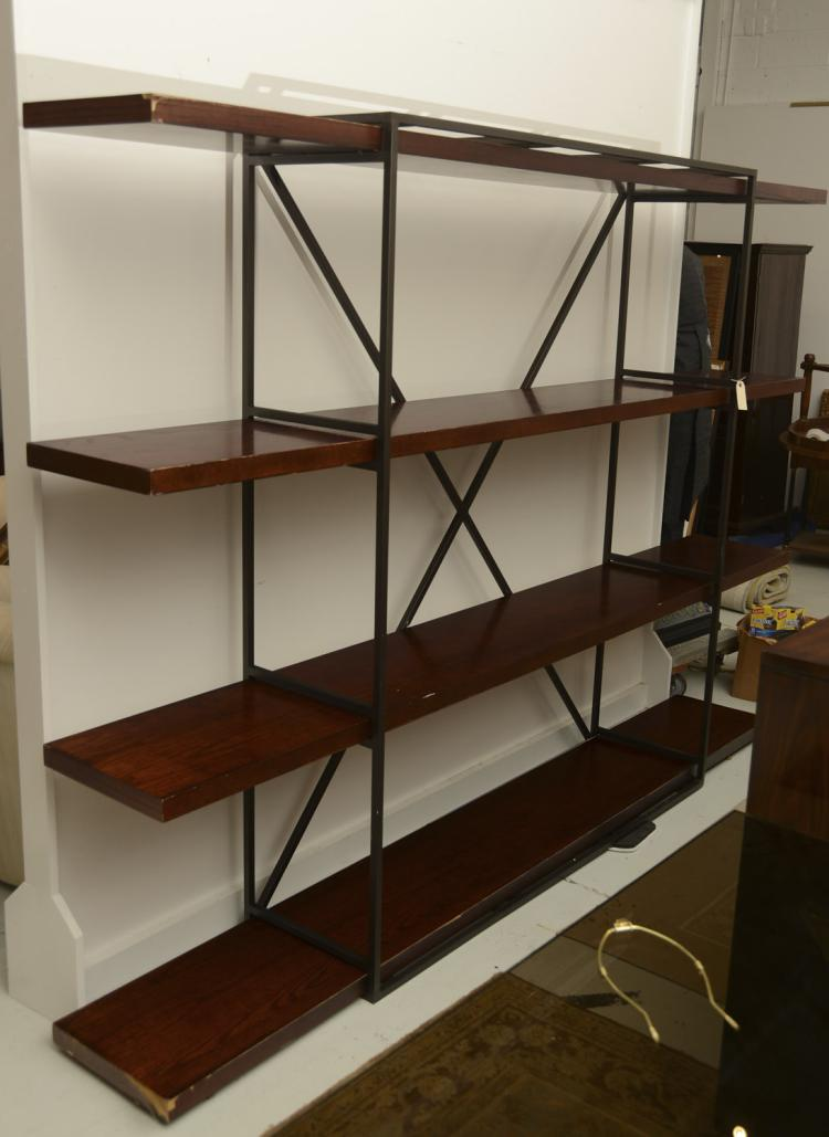 industrial style steel and wood shelving unit. Black Bedroom Furniture Sets. Home Design Ideas