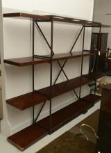 Industrial style steel and wood shelving unit