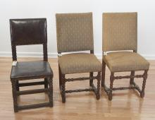 (3) Flemish Baroque style side chairs
