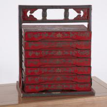 Chinese red lacquered wedding box
