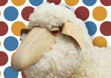 (2) natural fleece, wood, leather sheep stools