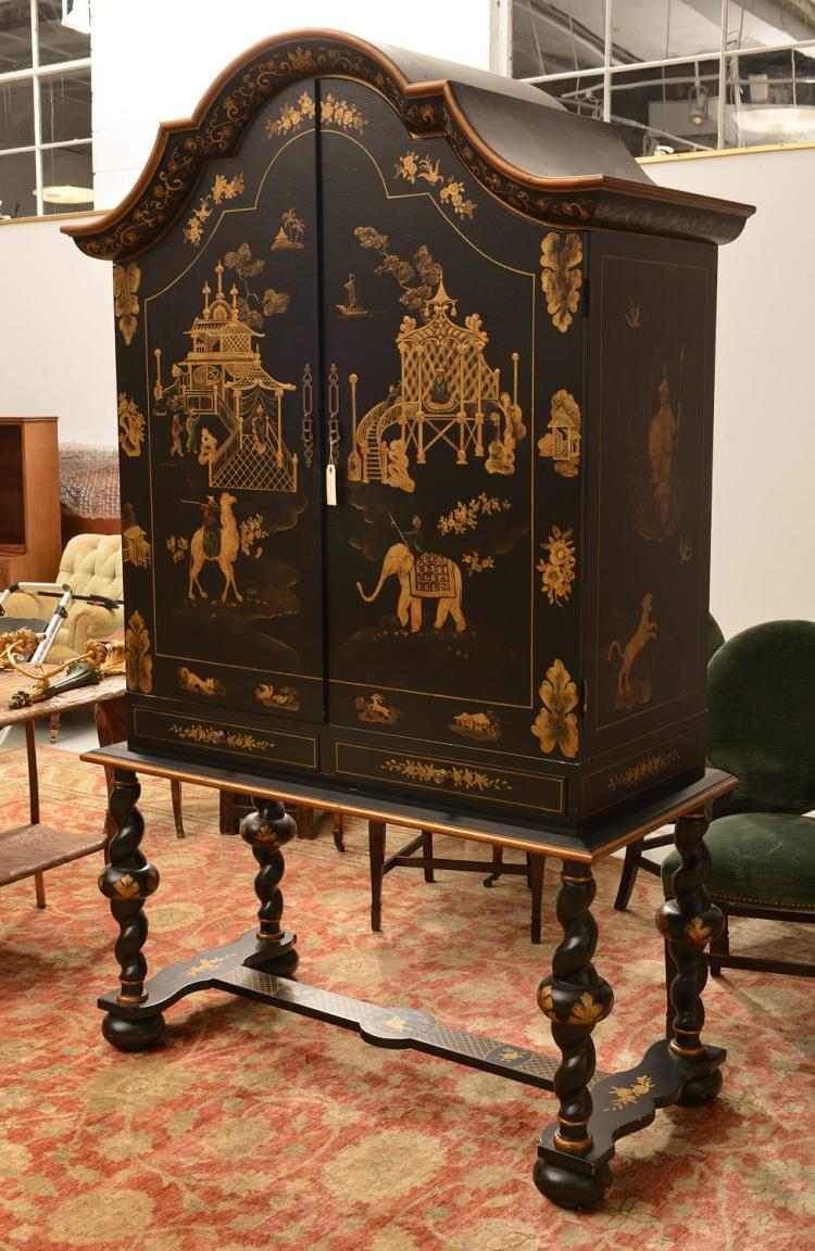 Dutch baroque style chinoiserie cabinet on stand for Dutch baroque architecture