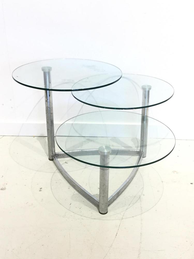 Baughman Style 3 Tier Glass Swivel Coffee Table