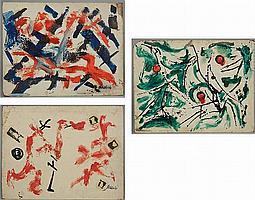 (3) paintings by John Nichols (1899-1963 American)