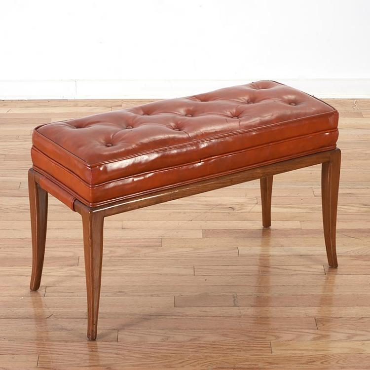 Tommi Parzinger Tufted Red Leather Bench