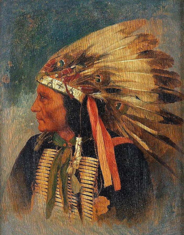 Attrib. George A. Baker (1821-1880, Amer.), Indian painting