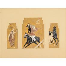 Edward Penfield (manner of), polo triptych study