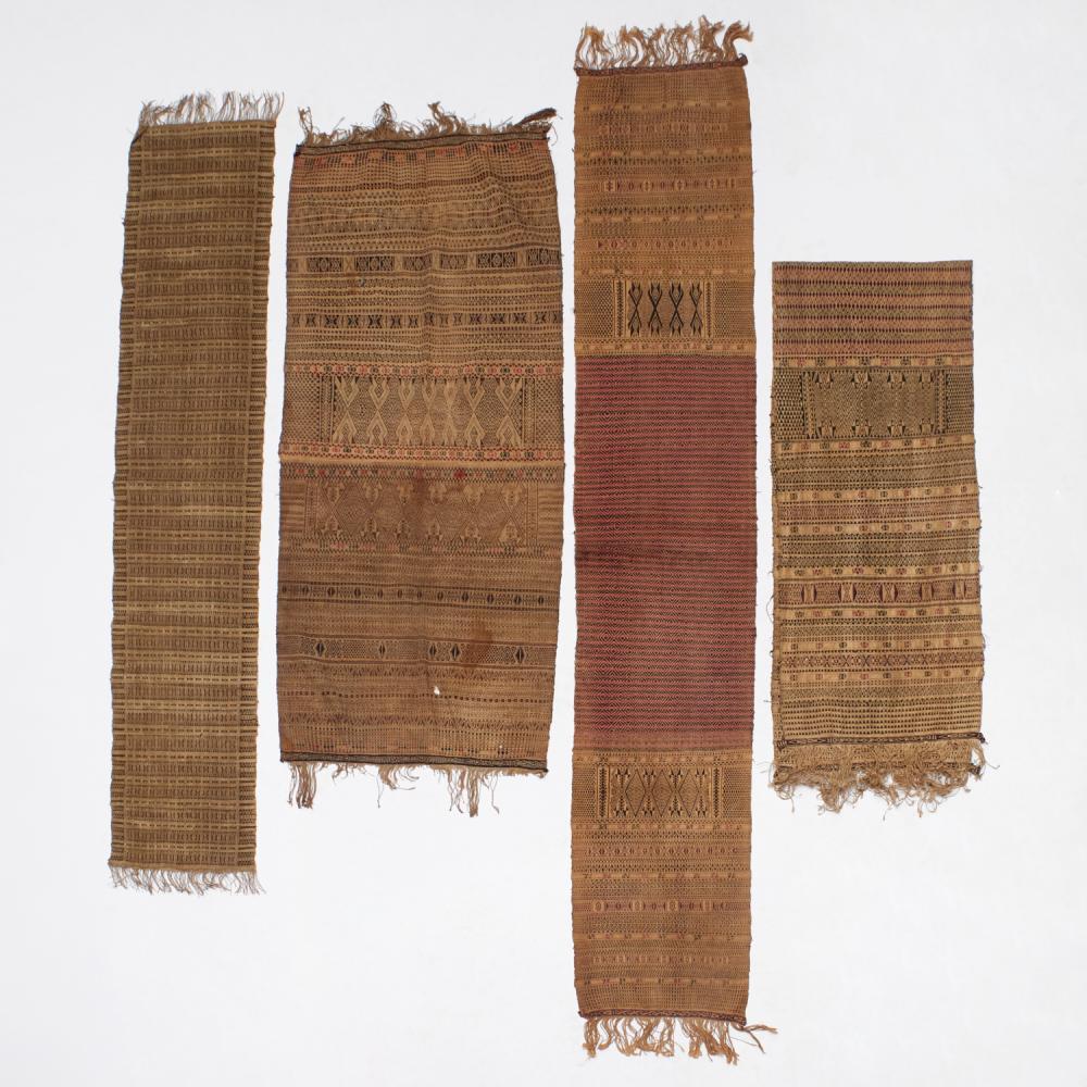 Group (4) vintage Indonesian Batak textiles