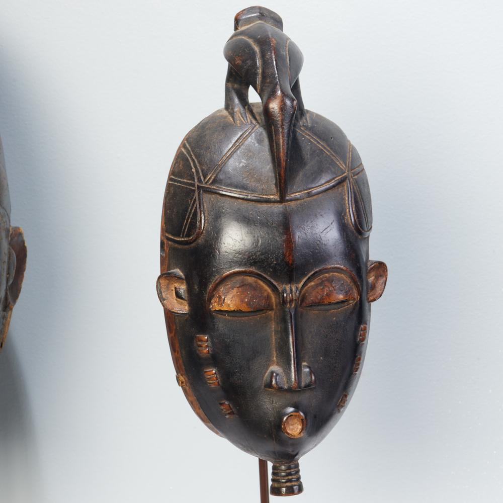 Group (5) West African style masks on stands