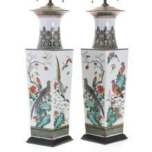 Huge pair Chinese famille verte squared vases