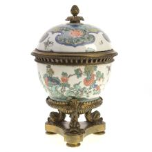 Chinese bronze mounted porcelain brule parfum