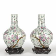 Large pair Chinese famille rose peach vases