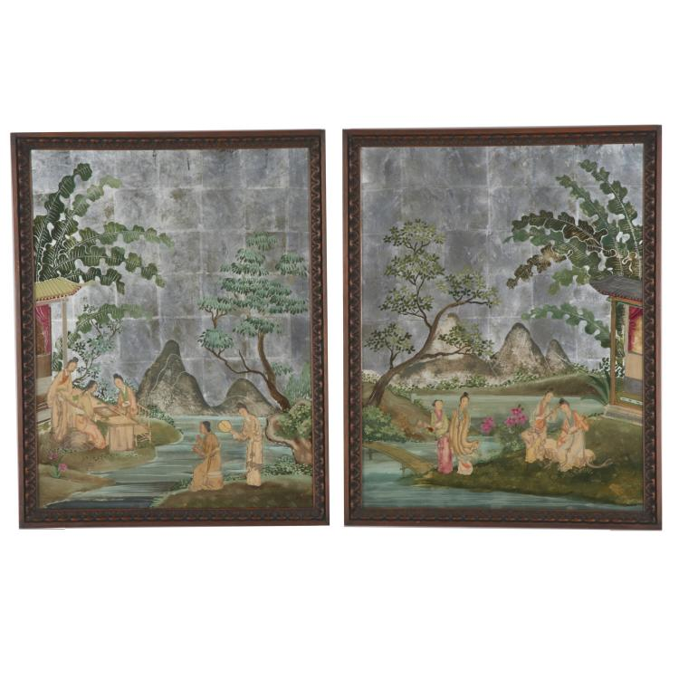 Pair Chinese Export reverse painted mirrors