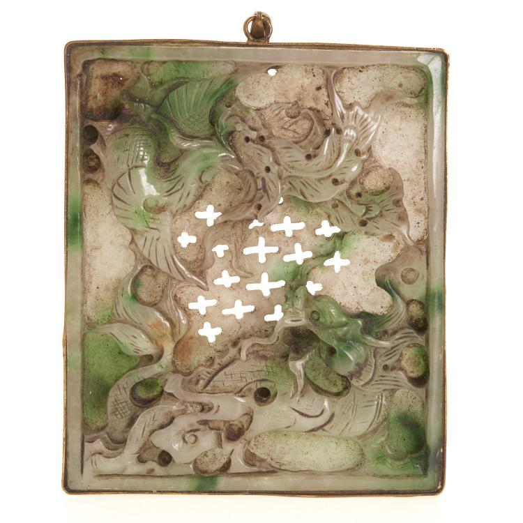 Chinese carved green/white jade plaque