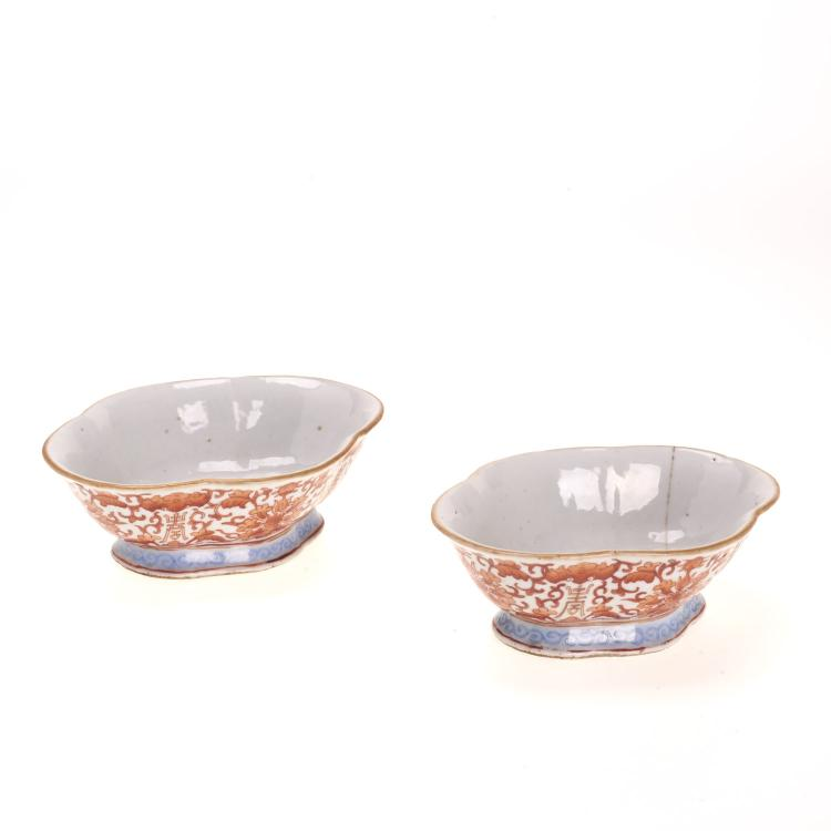 Pair antique Chinese orange bat and lotus coupes