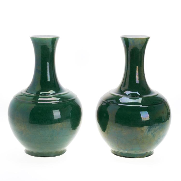 Nice pair Chinese apple green glazed crackle vases