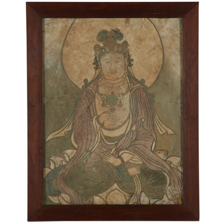 Rare Ming Dynasty painted Buddhist wall fresco