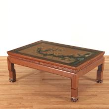 Antique Chinese jade and hardwood low table