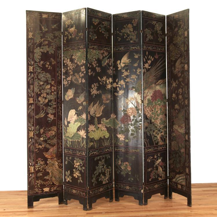 Huge Chinese 6-panel coromandel lacquer screen