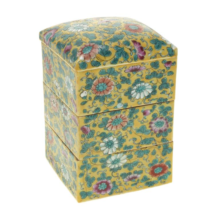 Chinese Export famille jaune porcelain rice box