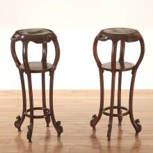 Nice pair Chinese marble inset hardwood stands
