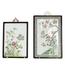 (2) Chinese famille verte porcelain plaques
