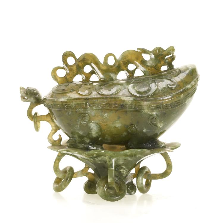 Chinese spinach jade boat-form vessel and cover