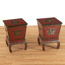 Pair Antique Chinese red lacquer ice chests
