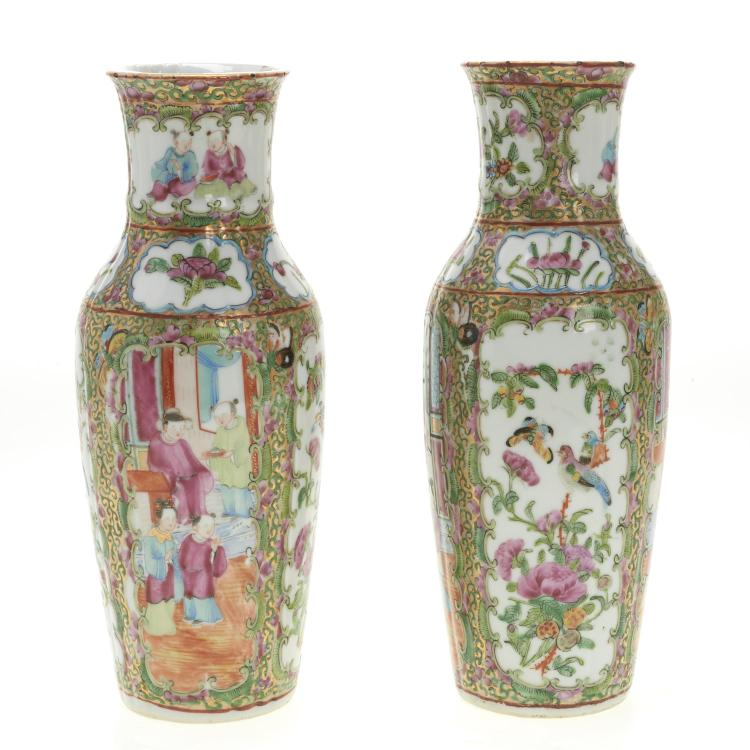 Pair Chinese Export rose medallion baluster vases