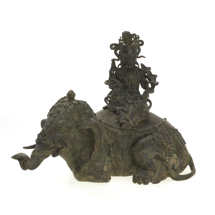 Chinese bronze seated Guanyin and elephant group