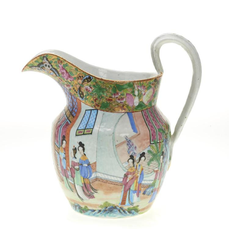 Chinese Export rose mandarin water pitcher