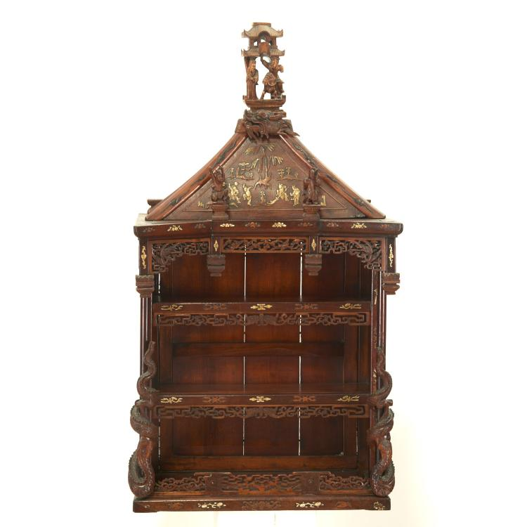 Asian carved hardwood pagoda-form wall shelf