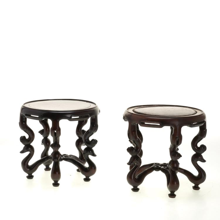 Pair large Chinese carved hardwood stands
