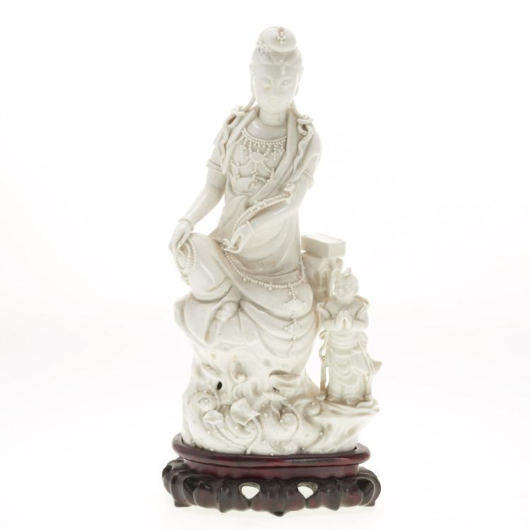 Chinese blanc de chine Guanyin and attendant