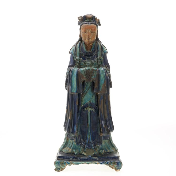 Antique Chinese Fahua glazed earthenware Guanyin