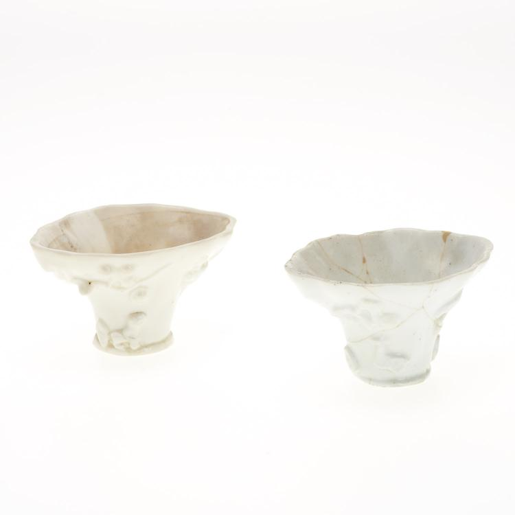 Near pair Chinese blanc de chine libation cups