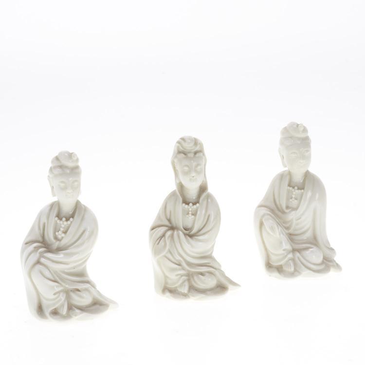 (3) Chinese blanc de chine Guanyin figures