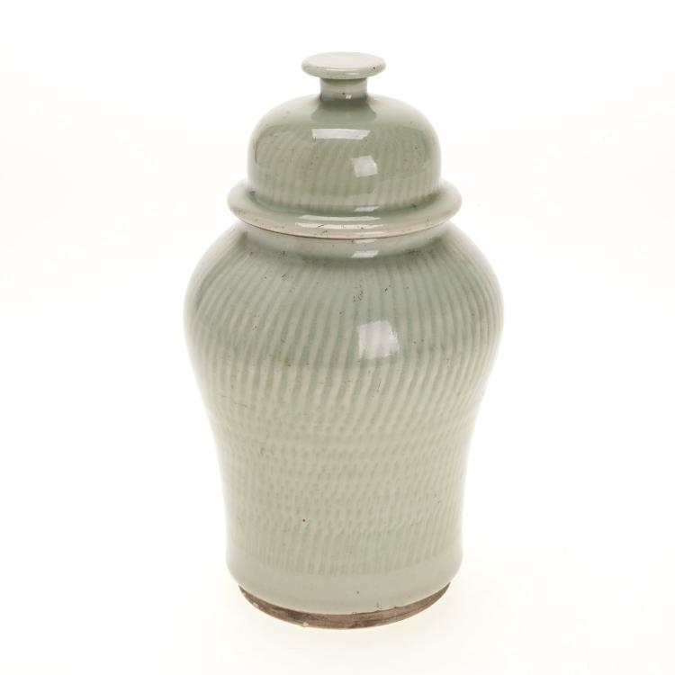 Asian celadon comb glazed ginger jar