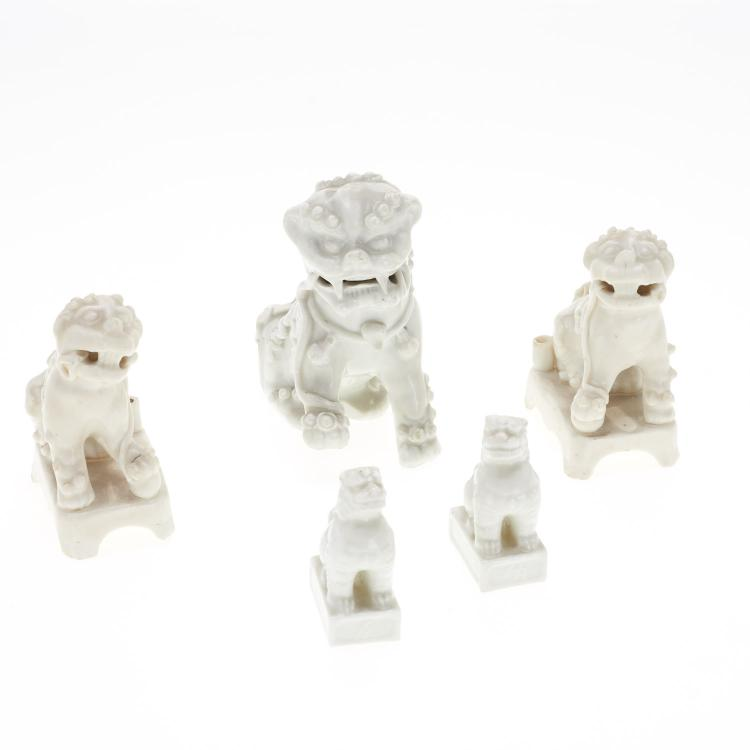 (5) Chinese blanc de chine foo lions