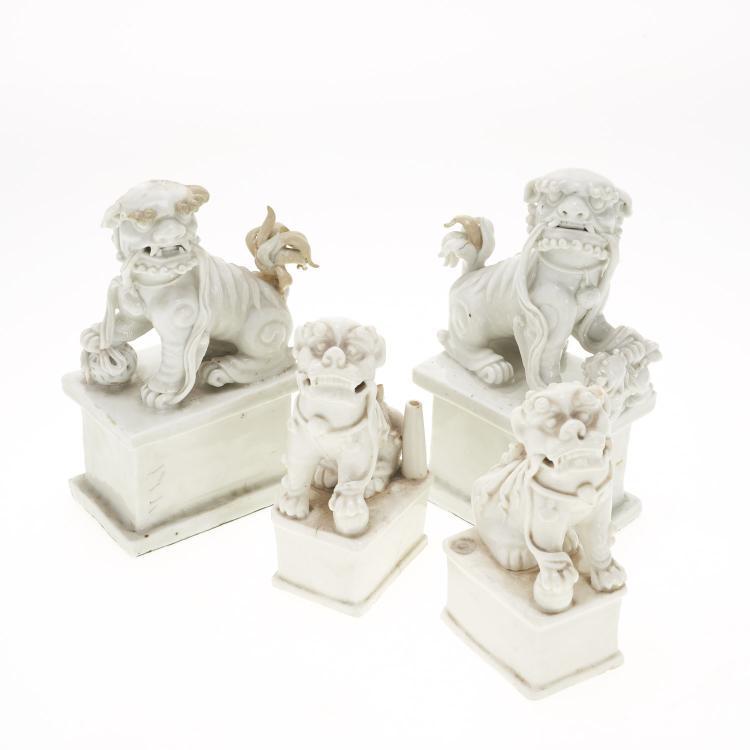 (2) Pair Chinese blanc de chine foo lions
