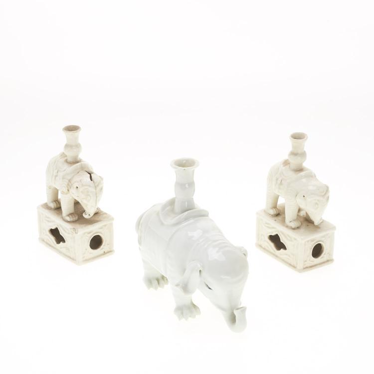 (3) Chinese blanc de chine elephant joss holders