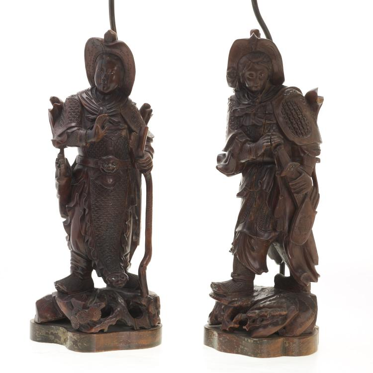 Pair Asian carved wood figural lamps