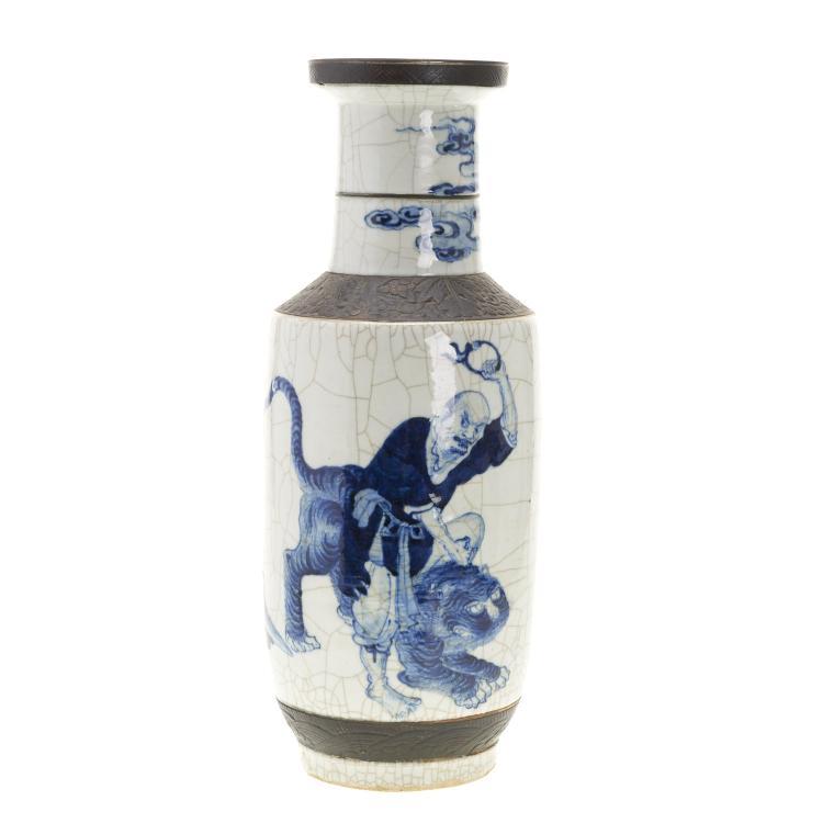 Large Chinese blue and white porcelain mallet vase