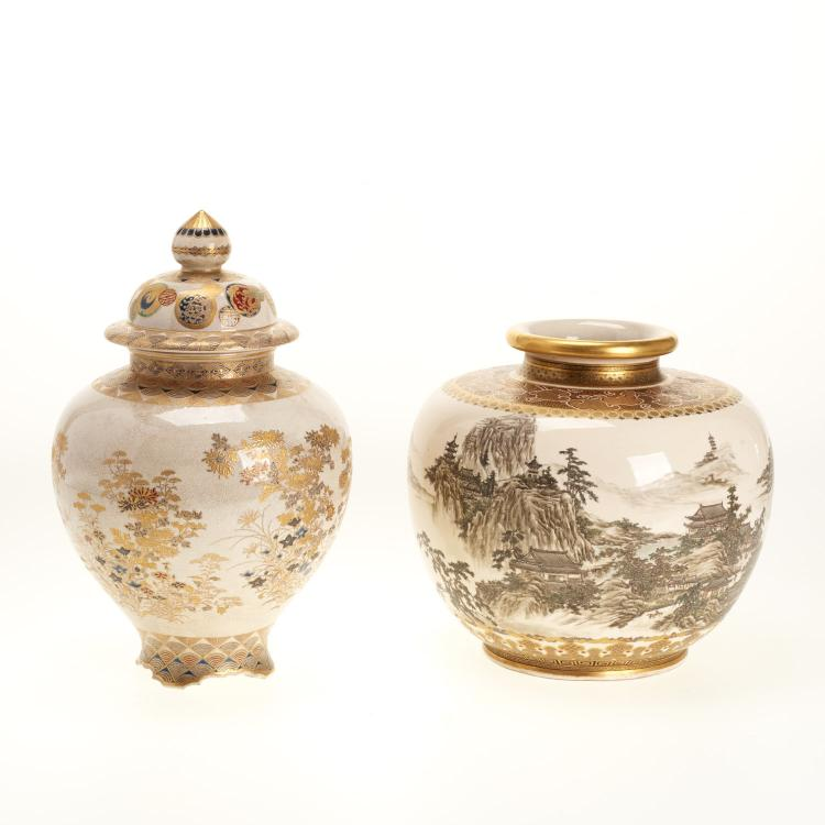 (2) Antique Japanese Satsuma earthenware vessels