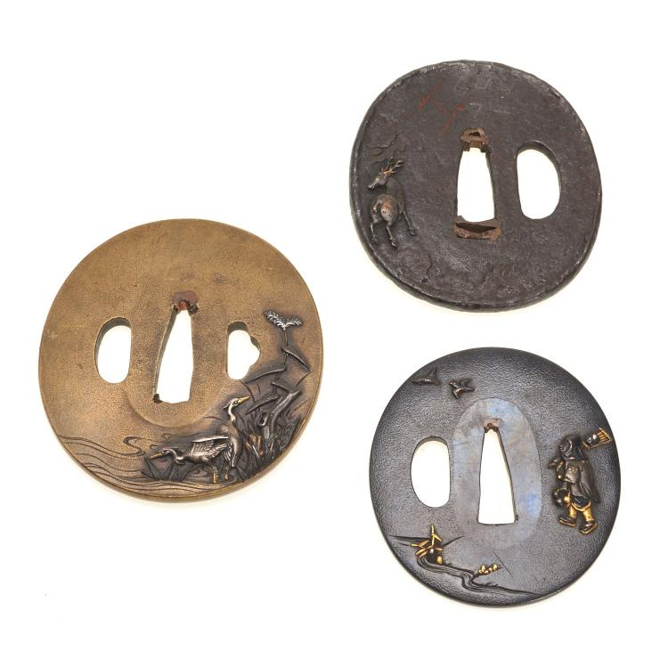 (3) Antique Japanese soft metal and iron tsuba
