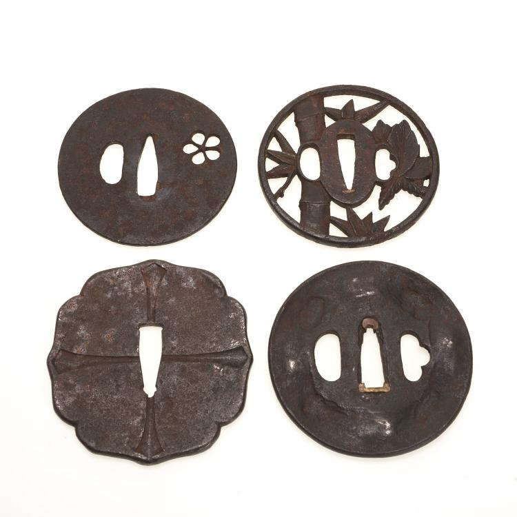 (4) Antique Japanese iron tsuba