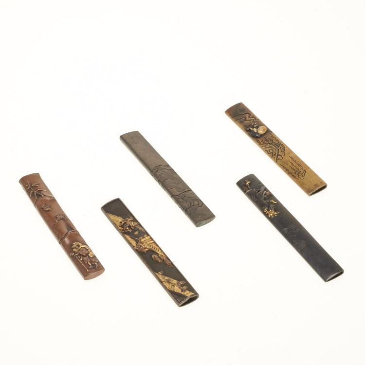 (5) Antique Japanese mixed metal Kozuka