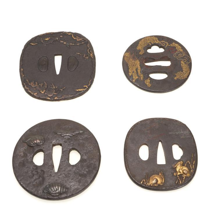 (4) Antique Japanese iron tsuba